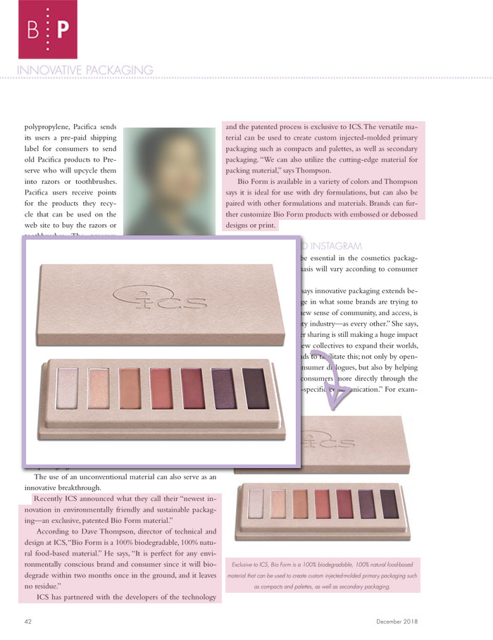 ICS featured in Beauty Packaging Innovative Packaging Article Dec